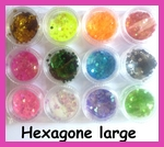 Pot d'hexagones larges pour Nail Art  (12 couleurs)