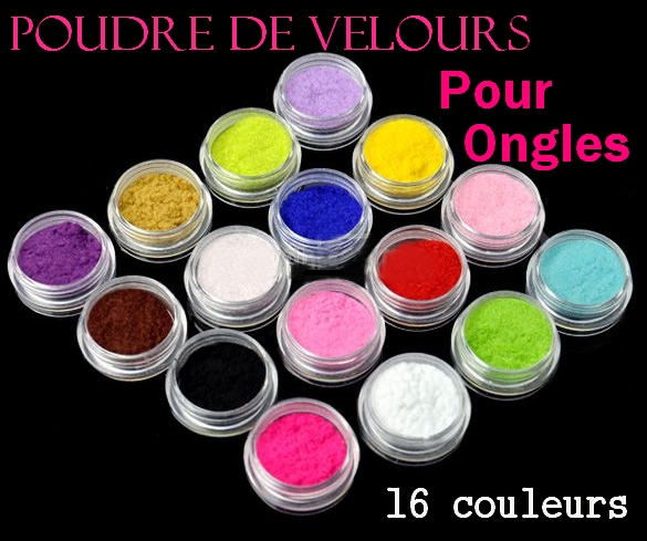 poudre de velours pour ongle kit de 16 couleurs boutique miniboutic. Black Bedroom Furniture Sets. Home Design Ideas